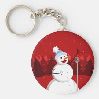 Happy Singing Snowman Christmas Keychain