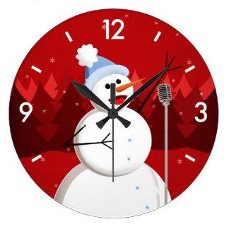 Happy Singing Snowman Christmas Large Clock