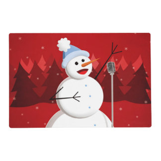 Happy Singing Snowman Christmas Laminated Place Mat