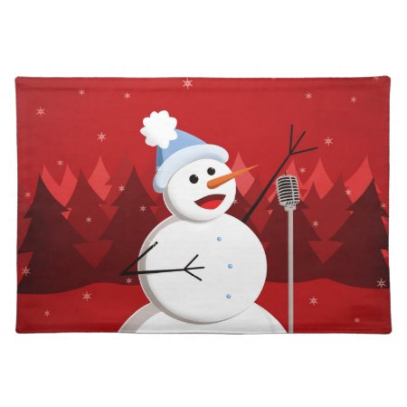 Happy Singing Snowman Christmas Place Mat