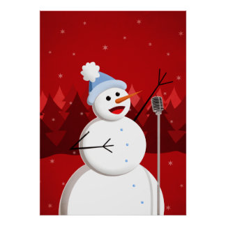 Happy Singing Snowman Christmas Poster