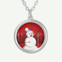 Happy Singing Snowman Christmas Round Pendant Necklace