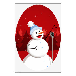 Happy Singing Snowman Christmas Wall Decal