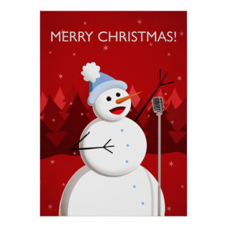 Happy Singing Snowman Merry Christmas Poster