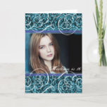 "Happy Sixteenth Birthday Damask Photo Portrait Card<br><div class=""desc"">Add a photo of the birthday girl or of the birthday girl with her friends to this easy to use teal damask and elegant swirls card.</div>"