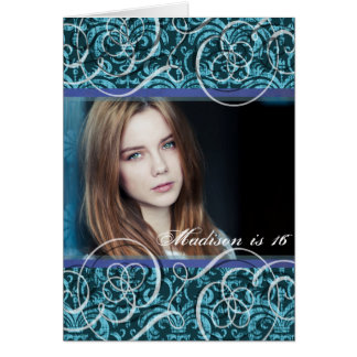 Happy Sixteenth Birthday Damask Photo Portrait Greeting Card