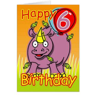 Happy sixth birthday greeting card