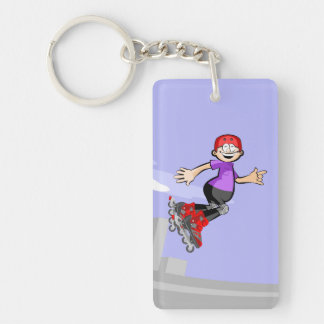 Happy skate on wheels young jumped three times keychain