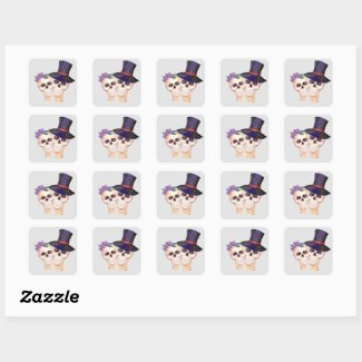 Happy Skeleton Couple Square Sticker