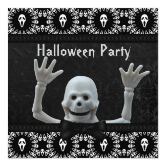 Happy Skeleton Damask Halloween Party Card