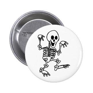happy skeleton walking hands up halloween pinback button
