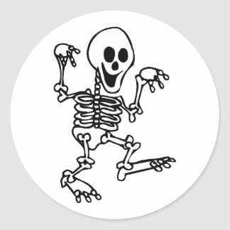 happy skeleton walking hands up halloween classic round sticker