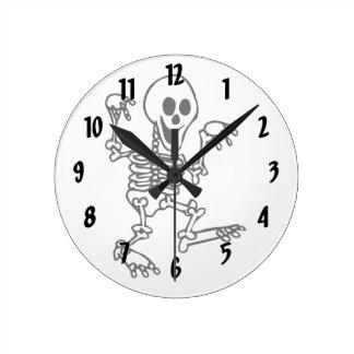 happy skeleton walking hands up halloween round wallclock