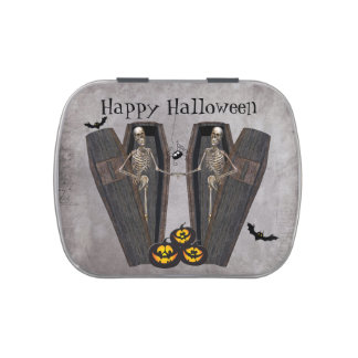 Happy Skeletons in Coffins Halloween Party Favor Candy Tins