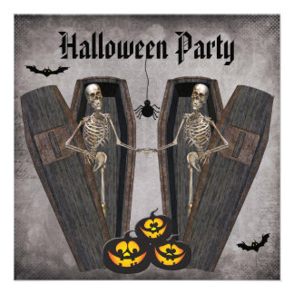 Happy Skeletons in Coffins Halloween Party Personalized Announcements