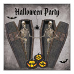 Happy Skeletons in Coffins Halloween Party 5.25x5.25 Square Paper Invitation Card