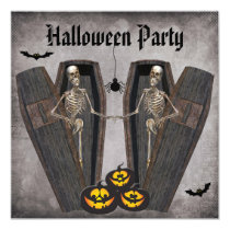 Happy Skeletons in Coffins Halloween Party Invitation