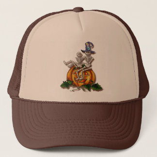 HAPPY SKELETONS & JACK by SHARON SHARPE Trucker Hat