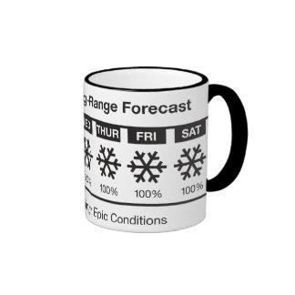 Happy Skier Forecast Ringer Coffee Mug