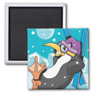 happy skiier penguin 2 inch square magnet