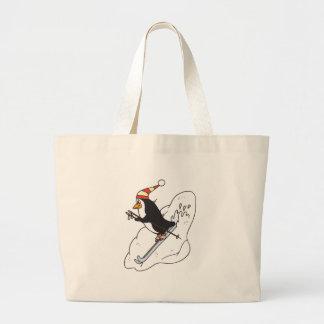 happy skiing penguin large tote bag