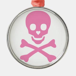 Happy Skull Round Metal Christmas Ornament