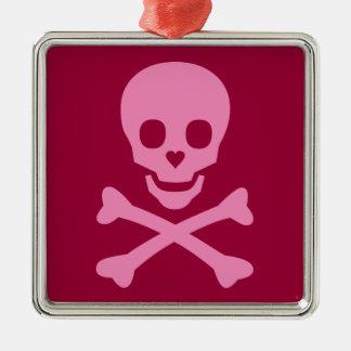 Happy Skull Square Metal Christmas Ornament