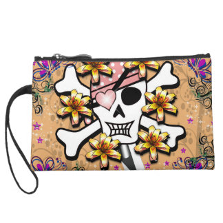 Happy Skull Suede Wristlet Wallet