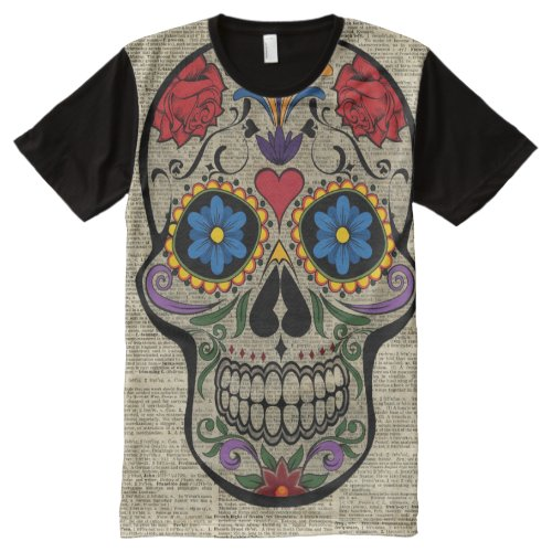 Happy Skull,Sugar Skull,Halloween,Dictionary Art All-Over-Print Shirt Sales
