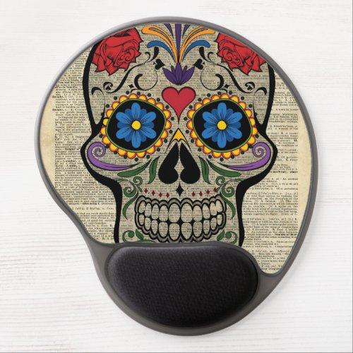 Sugar Skull Dictionary Art Gel Mouse Pad