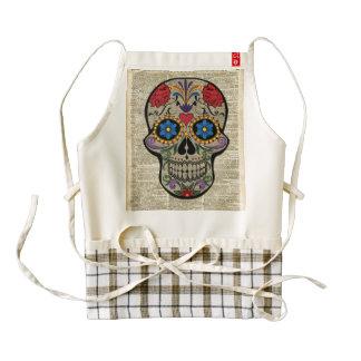 Happy Skull,Sugar Skull,Halloween,Dictionary Art Zazzle HEART Apron
