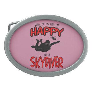 Happy Skydiver (blk) Belt Buckle