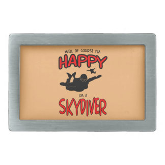 Happy Skydiver (blk) Belt Buckle