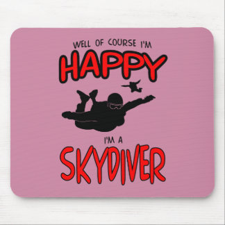Happy Skydiver (blk) Mouse Pad