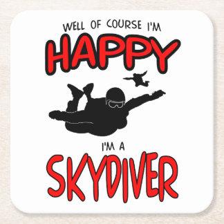 Happy Skydiver (blk) Square Paper Coaster