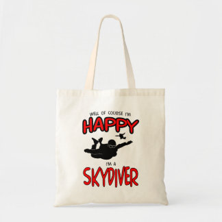 Happy Skydiver (blk) Tote Bag