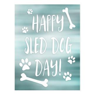 happy sled dog day postcard