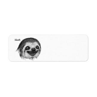 Happy Sloth Face Label