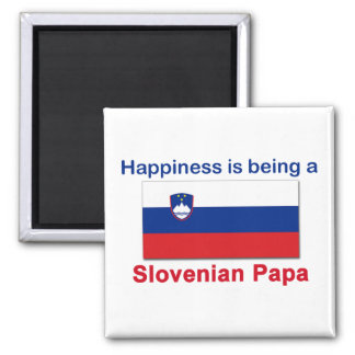 Happy Slovenian Papa 2 Inch Square Magnet