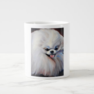 Happy Small White Dog Jumbo Mug
