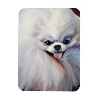 Happy Small White Dog Photo Magnet