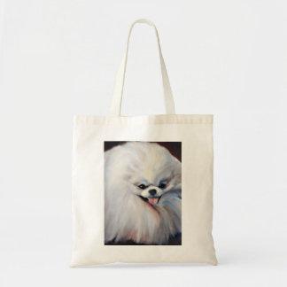Happy Small White Dog Tote Bag