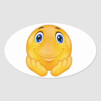 Happy  smile oval sticker