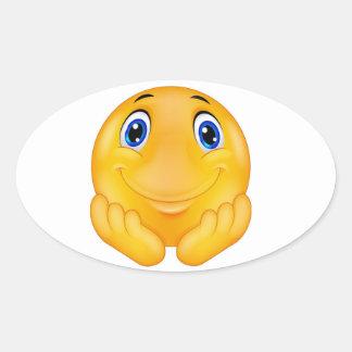 Happy  smile oval sticker