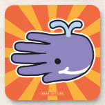 Hand shaped Happy Smile Purple Whale Drink Coaster