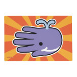 Hand shaped Happy Smile Purple Whale Placemat