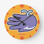 Hand shaped Happy Smile Purple Whale Round Clock