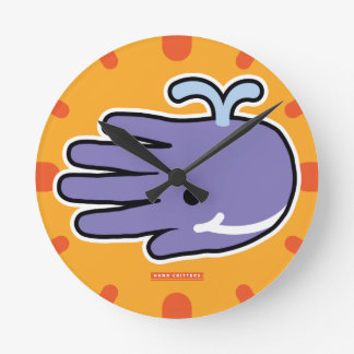 Happy Smile Purple Whale Round Clock