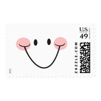 Happy smile smiley face with rosy cheeks postage
