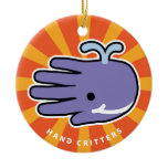 Hand shaped Happy Smile Whale Ceramic Ornament